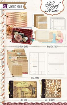 Mixed Media Albums by Prima Small Alphabets, Prima Marketing, Patterned Sheets, Scrapbook Supplies, Craft Items, Plastic Canvas, Mixed Media Art, Mini Albums, Decorative Boxes
