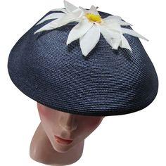 Mid Century Navy Mushroom Hat with White Organdy Daisy on Top
