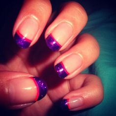 Sparkly purple and hot pink French tip manicure I did:)