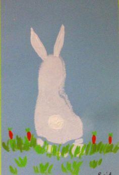 Footprint Bunny Art Bunny Crafts, Easter Crafts For Kids, Easter Projects, Easter Art, Crafts For Kids To Make, Toddler Crafts, Diy Crafts, Baby Art, Baby Feet Art
