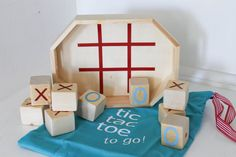 my little tic tac toe -to go- wooden block set  (x's and o's)