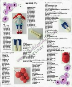 This post was discovered by Acemicadı. Discover (and save!) your own Posts on Unirazi.Discover thousands of images about Crochet Doll pattern Crochet Gratis, Crochet Chart, Free Crochet, Amigurumi Patterns, Amigurumi Doll, Doll Patterns, Octopus Crochet Pattern, Crochet Flower Patterns, Knitted Dolls