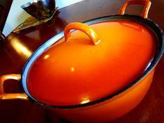 Vintage Descoware Dutch oven 3 quart Flame Orange by puckerpie, $50.00