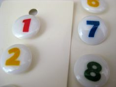 Vintage  number buttons made in Japan  plastic  numbers 1 2 3 4 5 6 7 8. $3.25, via Etsy.