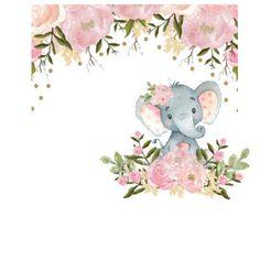 Roses, polka elephant comm use Tarjetas Baby Shower Niña, Baby Shower Invitaciones, Baby Girl Elephant, Elephant Baby Showers, Baby Shower Bunting, Baby Boy Shower, Wedding String Art, Baby Messages, Girl Birthday Themes