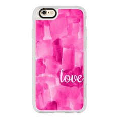 iPhone 6 Plus/6/5/5s/5c Case - Hot Pink Abstract Painting-Love ($40) ❤ liked on Polyvore featuring accessories, tech accessories, iphone case, iphone hard case, iphone cover case and apple iphone cases