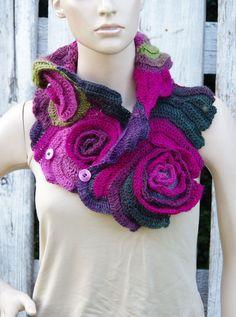 Crochet  Scarf roses  Capelet  Neck Warmer  Freeform crochet Green  Purple Pink Flower rose, unique design.,