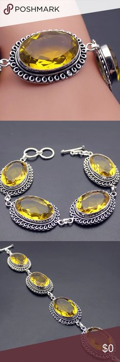 """Gorgeous Morganite Sterling Silver 925 Bracelet Morganite pressure setting in beautiful detailed Sterling Silver 925. Beautiful yellow orange color. measurements approximately 6.5"""" adjustable with toggle closure, Chanel setting, approximately 244 ct weight of morganite. Jewelry Bracelets"""