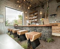 Cafe that Resembles Jeju Island,© Hong Seokgyu Outdoor Design inspiration Gallery of Cafe that Resembles Jeju Island / STARSIS - 5 Cafe Seating, Restaurant Seating, Outdoor Seating, Outdoor Restaurant, Outdoor Cafe, Rustic Outdoor Kitchens, Restaurant Layout, Outdoor Stools, Outdoor Kitchen Bars