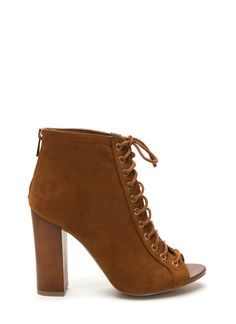 These lace-up chunky booties are perfect for your brunch date with your girls! #laceup #booties #chunky #peeptoe #chestnut #shoes #gojane