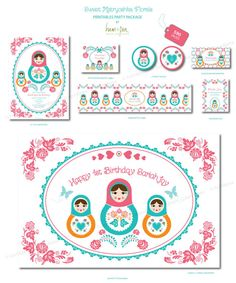 Sweet Matryoshka Florals Printables Package by hamandpea on Etsy, $93.00