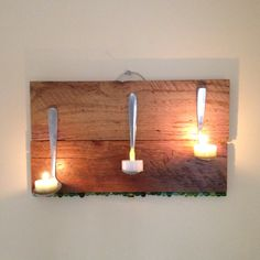 My fun morning project. Barn wood, spoons and tea lights. Oh, it's hanging from a bangle bracelet.