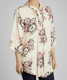 Look at this #zulilyfind! Rising International Cream Floral Button-Front Top - Plus by Rising International #zulilyfinds