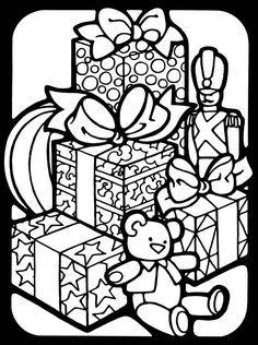 3-D Coloring Book -- Merry Christmas coloring book pages