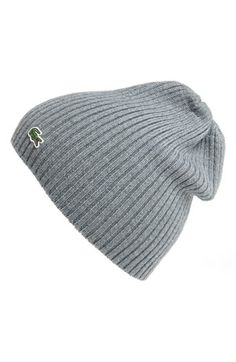 Lacoste Rib Knit Wool Beanie | Nordstrom
