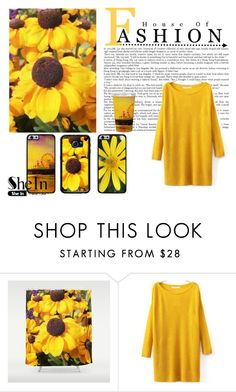 """""""Shein contest: Round Neck Split Yellow Sweater"""" by stine1online ❤ liked on Polyvore"""