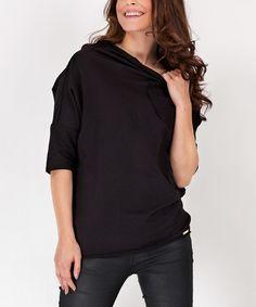 Black Three-Quart Boat-Neck Sweatshirt #zulily #zulilyfinds