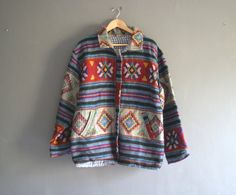 90s Tapestry Blanket Coat Mens Large by VioletsAtticVintage #blanketcoat #aztec #mexican