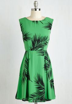 A Lady's Best Frond Dress in Palm. Leash up your precious pup and hit the park for a midday promenade in this peppy, shamrock green frock. #green #modcloth