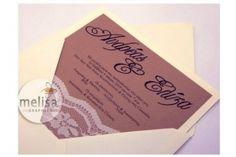 ΧΕΙΡΟΠΟΙΗΤΟ ΠΡΟΣΚΛΗΤΗΡΙΟ ΓΑΜΟΥ ΜΕ ΔΑΝΤΕΛΑ (MG3103) Wedding Invitations, Wedding Invitation Cards, Wedding Invitation, Save The Date Invitations, Wedding Invitation Design
