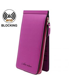 Buy Blocking Wallet Leather Organizer - Red Purple With Rfid Blocking - and More Fashion Bags at Affordable Prices. Luxury Handbags, Purses And Handbags, Simple Wallet, Rfid Wallet, Designer Wallets, Cute Purses, Fashion Bags, Women's Fashion, Red Purple