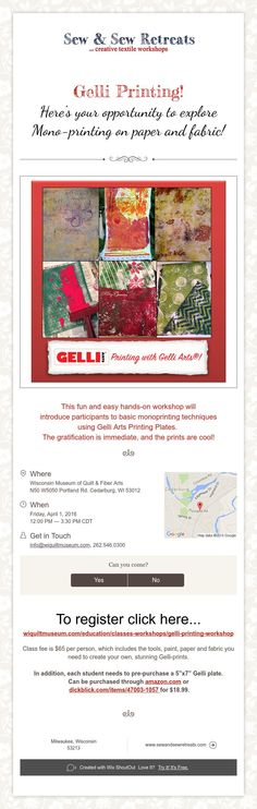 This fun and easy hands-on workshop will introduce participants to basic monoprinting techniques using Gelli Arts Printing Plates. The gratification is immediate, and the prints are cool!