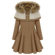 Hooded Long Sleeve Solid Color Wool Coat