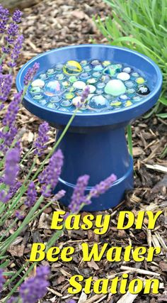 To Make A Simple Bee Water Station For Your Garden Support the bees in your garden while adding a pop of colour, with our DIY bee water station.Support the bees in your garden while adding a pop of colour, with our DIY bee water station. Diy Garden Projects, Garden Crafts, Diy Garden Decor, Creative Garden Ideas, Garden Decorations, Olive Garden, Bee Friendly, Recycled Garden, Garden Planning