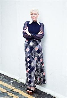 Vintage 70s sheer sleeve maxi dress  from Mint Vintage £48