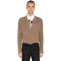 Prada Men Double Cashmere Knit Cardigan (14.756.640 IDR) ❤ liked on Polyvore featuring men's fashion, men's clothing, men's sweaters, camel, mens cardigan sweaters, mens v neck sweater, mens vneck sweater, mens sweaters and prada mens sweater