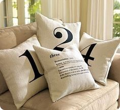 Drop cloths from Home Depot used to make pillows, curtains, artwork...