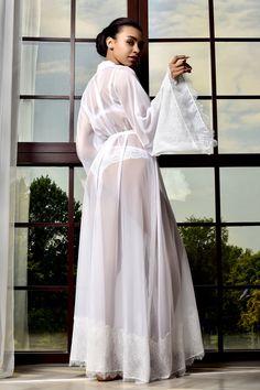 White Lace Kimono, Chiffon Kimono, White Chiffon, White Bridal Robe, Bridal Robes, Bridal Lace, Bride Dressing Gown, Kimono Dressing Gown, Wedding Night Lingerie