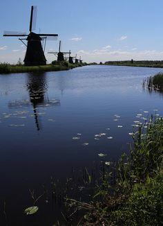 Windmills of Kinderdijk at dusk, Zuid-Holland, Netherlands