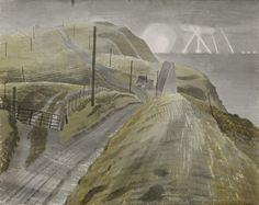 """""""Bombing the Channel Ports by Eric Ravilious 1941 ( Abbot's Cliff acoustic mirror near Capel-le-Ferne, looking east towards Dover. Landscape Art, Landscape Paintings, Wood Engraving, Painting & Drawing, Watercolor Art, Art Photography, Scenery, Illustration Art, Pictures"""