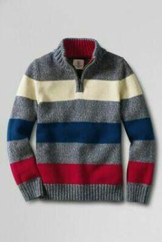 Boys' Half-zip Mockneck Stripe Sweater from Lands' End Baby Boy Knitting Patterns, Baby Sweater Knitting Pattern, Baby Sweater Patterns, Knitting For Kids, Baby Knitting, Boys Party Dress, Boys Sweaters, Men Sweater, Striped Knit