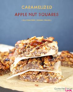 Gluten-Free Vegan Caramelized Apple Nut Squares {also Paleo & Refined Sugar-Free} #UnconventionalBaker