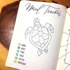 Mood tracker ou suivi d'humeur sous forme de tortue pour bullet journal