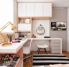32 Ideas Home Office Quarto Feminino For 2019 Room Design Bedroom, Girl Bedroom Designs, Room Ideas Bedroom, Home Room Design, Small Room Bedroom, Home Office Design, Home Office Decor, Home Bedroom, Home Interior Design