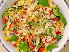 Sommerlich leichter Reissalat Summery light rice salad (recipe with picture) by Calorine Rice Salad Recipes, Healthy Salad Recipes, Vegetarian Recipes, Easy Salads, Grilling Recipes, Summer Recipes, Food Pictures, Chicken Recipes, Veggies