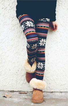 Winter Leggings and Uggs Look Perfect Stylish Combination Winter Leggings, Sweaters And Leggings, Women's Leggings, Christmas Leggings, Tribal Leggings, Floral Leggings, Crazy Leggings, Fall Tights, Fashion Clothes