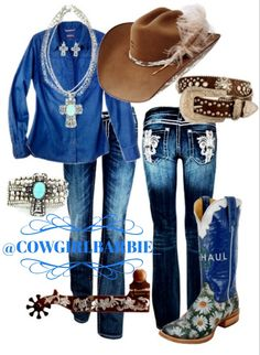 Cowgirl Style...Charlie 1 Horse, Miss Me, Tin Haul. Love everything but the flowery boots
