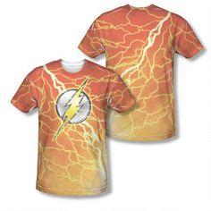 The Flash Lightning Logo Adult Sublimation Allover Print T-Shirt