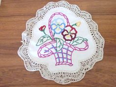 Hand embroidered doily basket of flowers vintage by RusticReuben