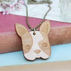 Laser Cut Wooden French Bulldog Necklace/ Frenchie Necklace/