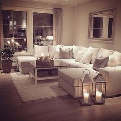 Top 10 Interior Design Ideas For Cozy Living Rooms - My perfect cosy living room! Someone please buy me a sofa just like this :-). but maybe in a more grey shade- I cannot be trusted with this much white Elegant Living Room, Chic Living Room, Small Living Rooms, Home Living Room, Bedroom Small, Cosy Living Room Decor, Cosy Room, Small Dining, Apartment Living