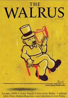 Escape, The Walrus magazine cover, Jul-Aug  2008 © Gary TAXALI (Cartoonist. India - Canada).  Artist's website: http://www.garytaxali.com  Prints available at link.  Elevated reading :-) PINTEREST on COPYRIGHT:  http://pinterest.com/pin/86975836526856889/ HOW TO FIND the artist who created an image & the original artist's website: http://www.pinterest.com/pin/86975836525507659/ GOLDEN RULE: http://www.pinterest.com/pin/86975836525355452/