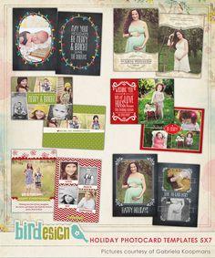PSD Christmas Photo card template -  Shining with Love - E558
