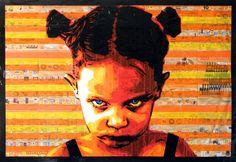 Girl / tape art by pestrini.deviantart.com on @deviantART