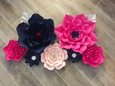 Items similar to 7 flower backdrop. Navy and bright pink. on Etsy How To Make Paper Flowers, Large Paper Flowers, Navy Flowers, Paper Flower Backdrop, Pink Paper, Different Flowers, Touch Of Gold, Color Rosa, Grad Parties