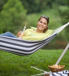 Navy Stripe Easy-Carry Canvas Hammock in a Bag